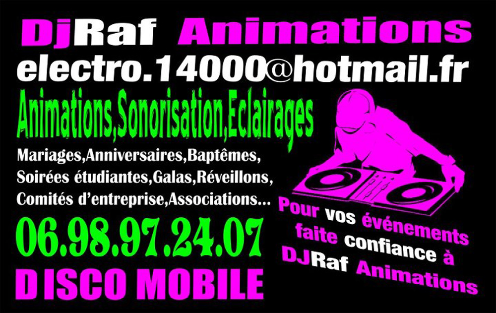 La carte de visite de Dj Raf Animations